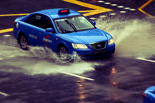 Singapore Taxi Flooding Averse Weather