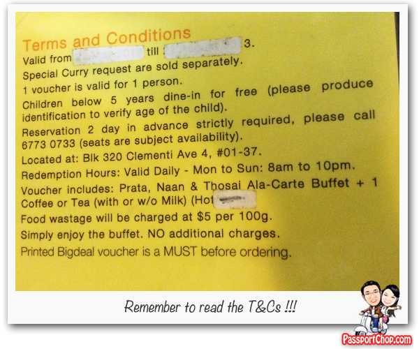 Prata Buffet Terms and conditions