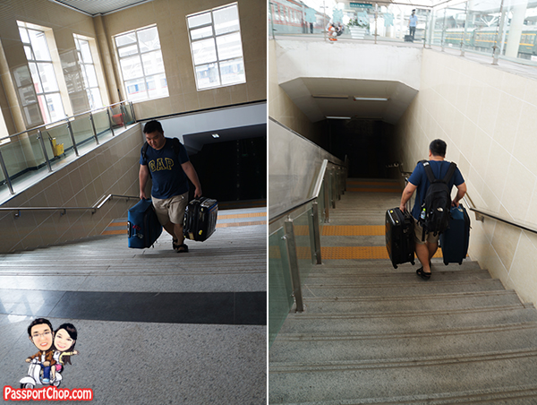 Climbing up stairs with luggage