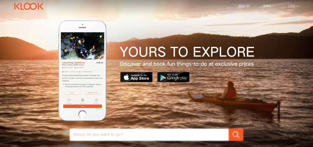 klook homepage curated travel