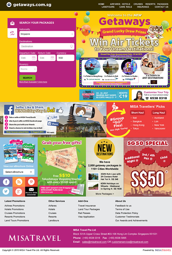 getaways singapore website revamp