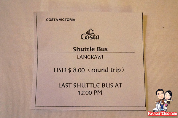 costa cruise langkawi bus ticket shore excursion