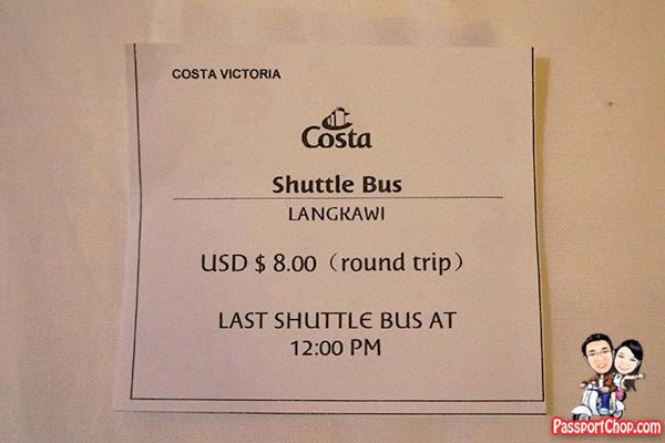 costa cruise langkawi bus ticket shore excursion