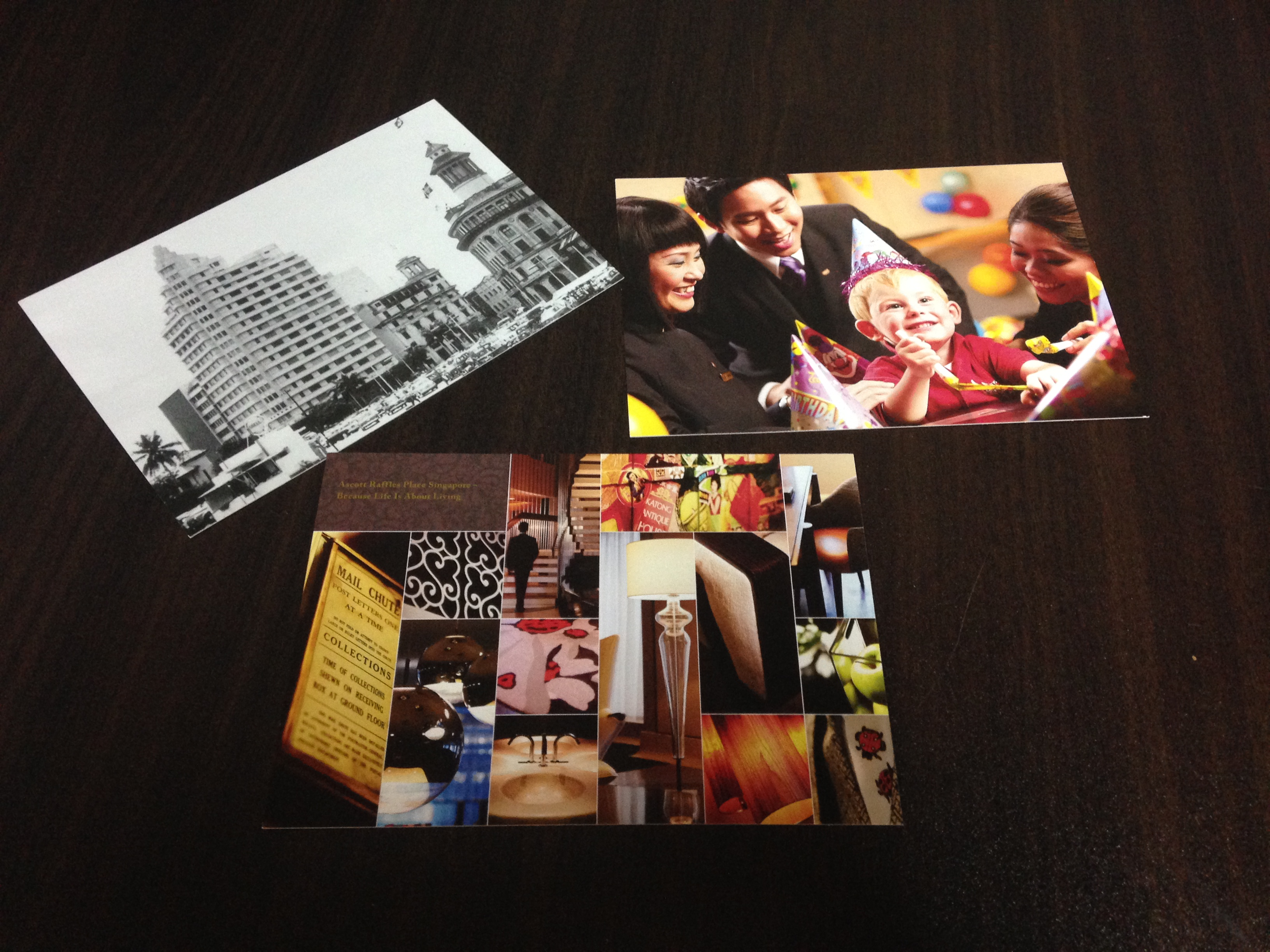 ascott raffles place postcards souvenir guests