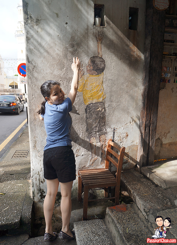 Lebuh Cannon Reaching Up Boy Penang Street Art Painting