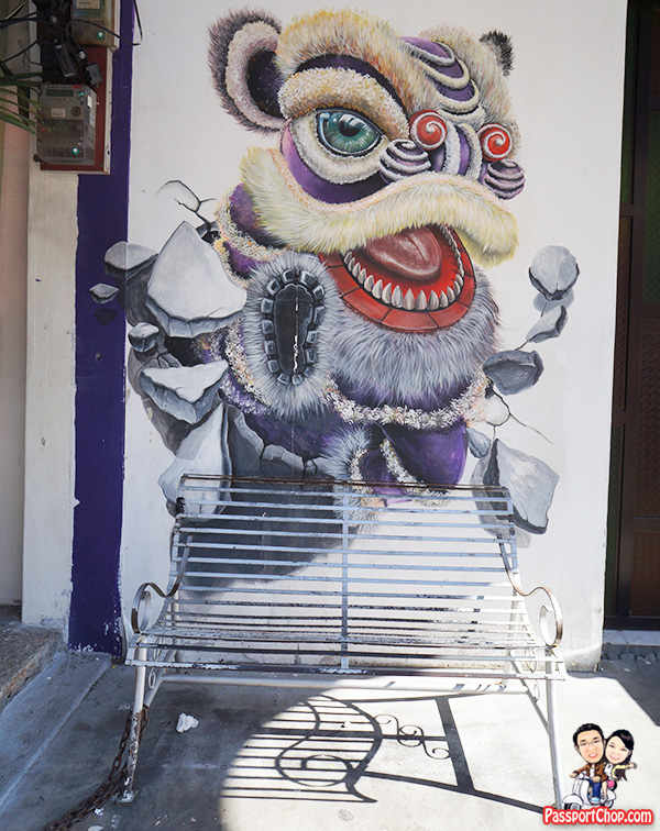 Lion Dance Breaking Wall Penang Street Art