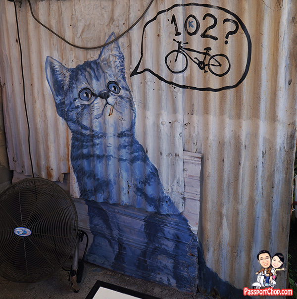 blue kitten penang street art gat lebuh armenian