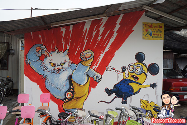 cat kicking minion bruce lee penang street art