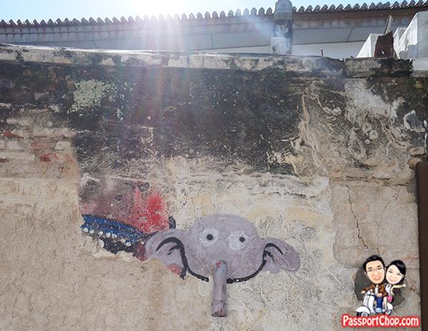 elephant pipe nose street art penang