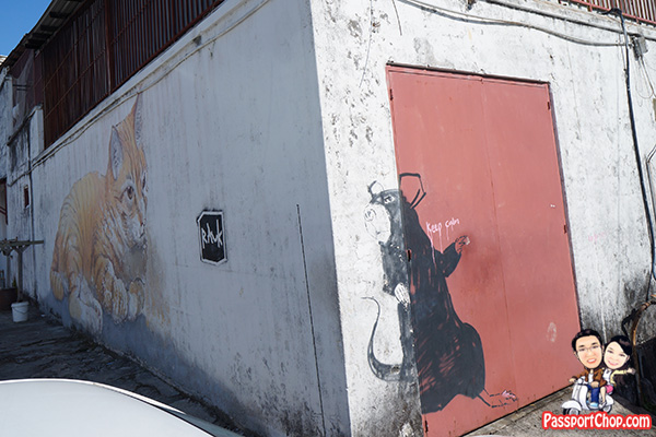 giant rat and skippy penang street art mural