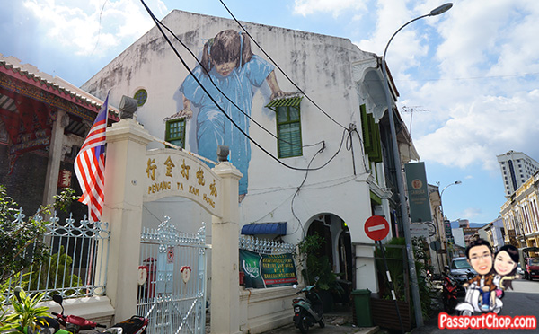 girl in blue kungfu girl penang street art muntri