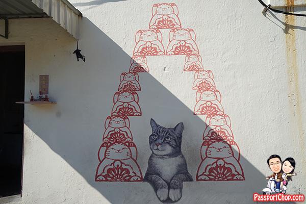 Vintage love me like your fortune cat penang street art mural