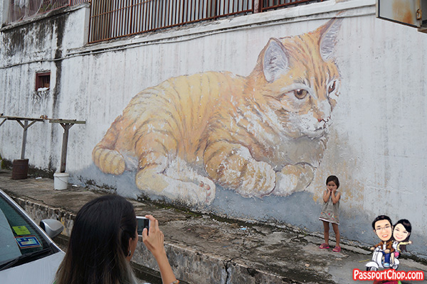skippy giant cat street art mural penang