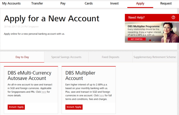 apply for dbs multi currency account online instantly