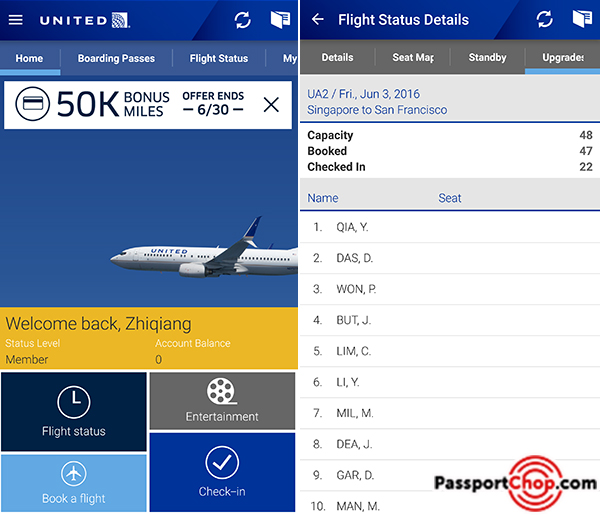 united app check standby wait list upgrade status
