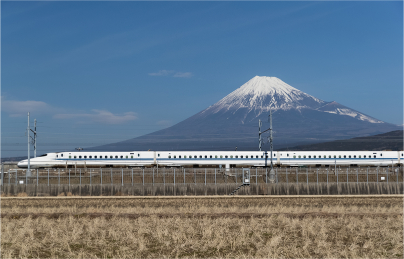 Shinkansen bullet train and Mountain Fuji