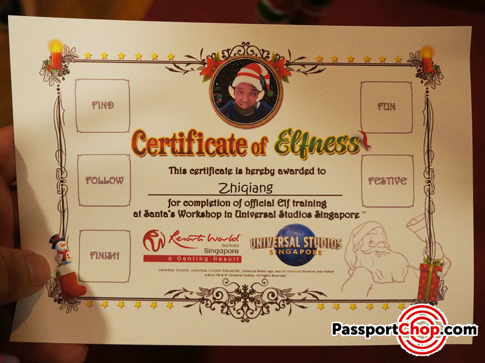santa workshop universal studios singapore certificate elf