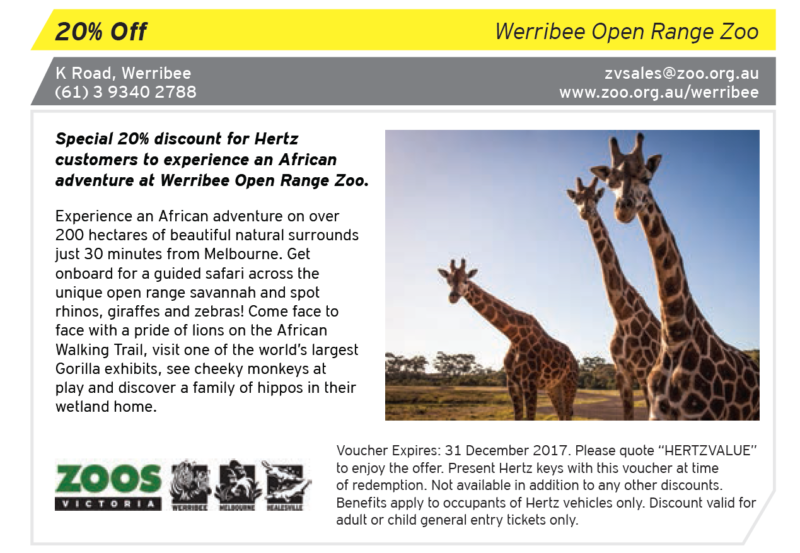 werribee open range zoo hertz value vouchers