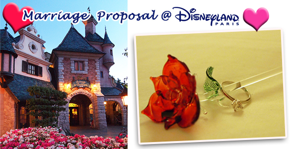 Marriage Proposal at Paris Disneyland Auberge de Cendrillon