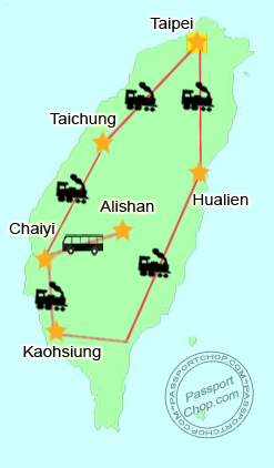 Taiwan Trip Itinerary Map